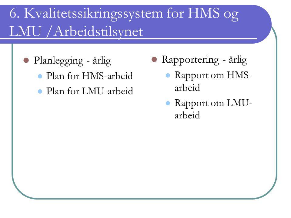 6. Kvalitetssikringssystem for HMS og LMU /Arbeidstilsynet Planlegging - årlig Plan for HMS-arbeid Plan for LMU-arbeid Rapportering - årlig Rapport om
