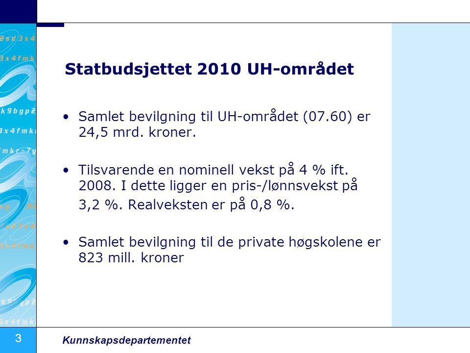 3 Kunnskapsdepartementet Statbudsjettet 2010 UH-området Samlet bevilgning til UH-området (07.60) er 24,5 mrd. kroner. Tilsvarende en nominell vekst på