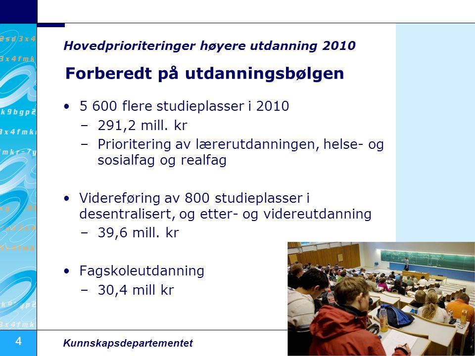 4 Kunnskapsdepartementet Forberedt på utdanningsbølgen 5 600 flere studieplasser i 2010 –291,2 mill. kr –Prioritering av lærerutdanningen, helse- og s