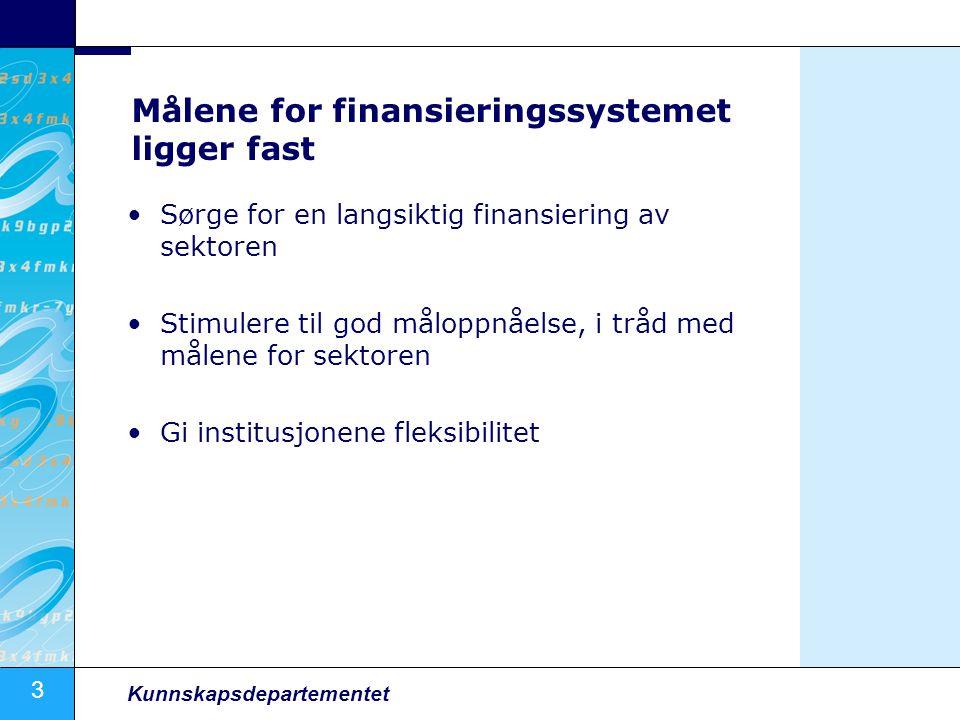 3 Kunnskapsdepartementet Målene for finansieringssystemet ligger fast Sørge for en langsiktig finansiering av sektoren Stimulere til god måloppnåelse, i tråd med målene for sektoren Gi institusjonene fleksibilitet