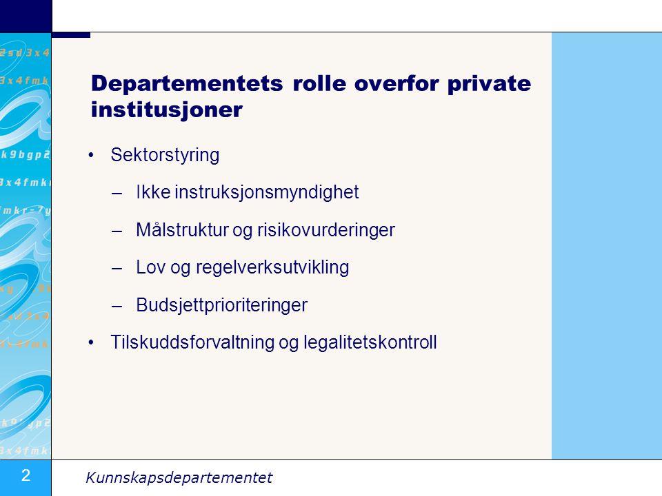 3 Kunnskapsdepartementet Forsterket fokus på målstyring Bedre kontroll med måloppnåelse Risiko- og vesentlighetsvurderinger Bedre kunnskap om sektoren Bedre politikkutforming