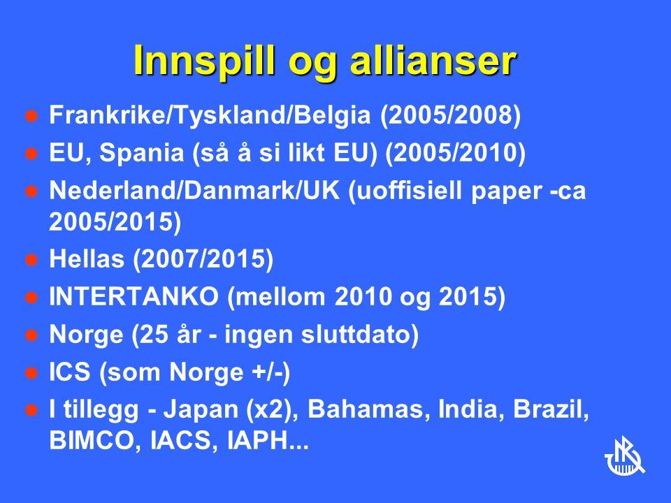 Innspill og allianser Frankrike/Tyskland/Belgia (2005/2008) EU, Spania (så å si likt EU) (2005/2010) Nederland/Danmark/UK (uoffisiell paper -ca 2005/2015) Hellas (2007/2015) INTERTANKO (mellom 2010 og 2015) Norge (25 år - ingen sluttdato) ICS (som Norge +/-) I tillegg - Japan (x2), Bahamas, India, Brazil, BIMCO, IACS, IAPH...