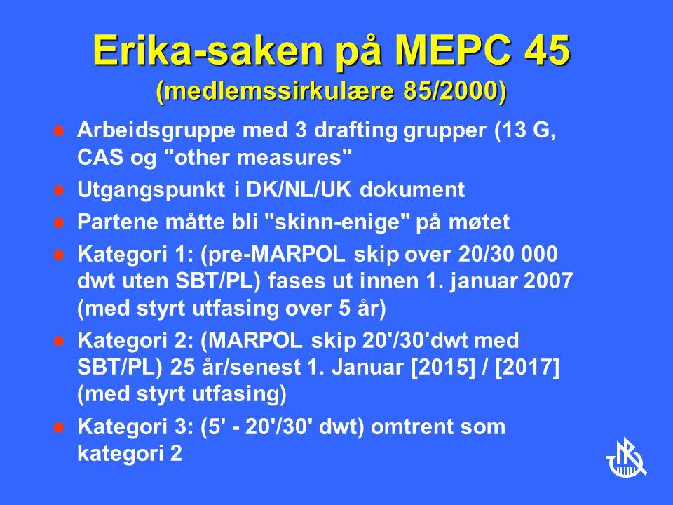 Erika-saken på MEPC 45 (medlemssirkulære 85/2000) Arbeidsgruppe med 3 drafting grupper (13 G, CAS og other measures Utgangspunkt i DK/NL/UK dokument Partene måtte bli skinn-enige på møtet Kategori 1: (pre-MARPOL skip over 20/30 000 dwt uten SBT/PL) fases ut innen 1.