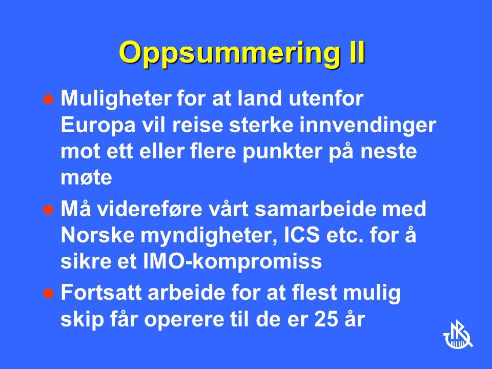 Oppsummering II Muligheter for at land utenfor Europa vil reise sterke innvendinger mot ett eller flere punkter på neste møte Må videreføre vårt samarbeide med Norske myndigheter, ICS etc.