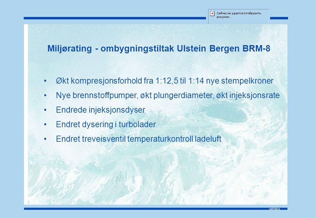 14/07/2014 Miljørating - ombygningstiltak Ulstein Bergen BRM-8 Økt kompresjonsforhold fra 1:12,5 til 1:14 nye stempelkroner Nye brennstoffpumper, økt plungerdiameter, økt injeksjonsrate Endrede injeksjonsdyser Endret dysering i turbolader Endret treveisventil temperaturkontroll ladeluft