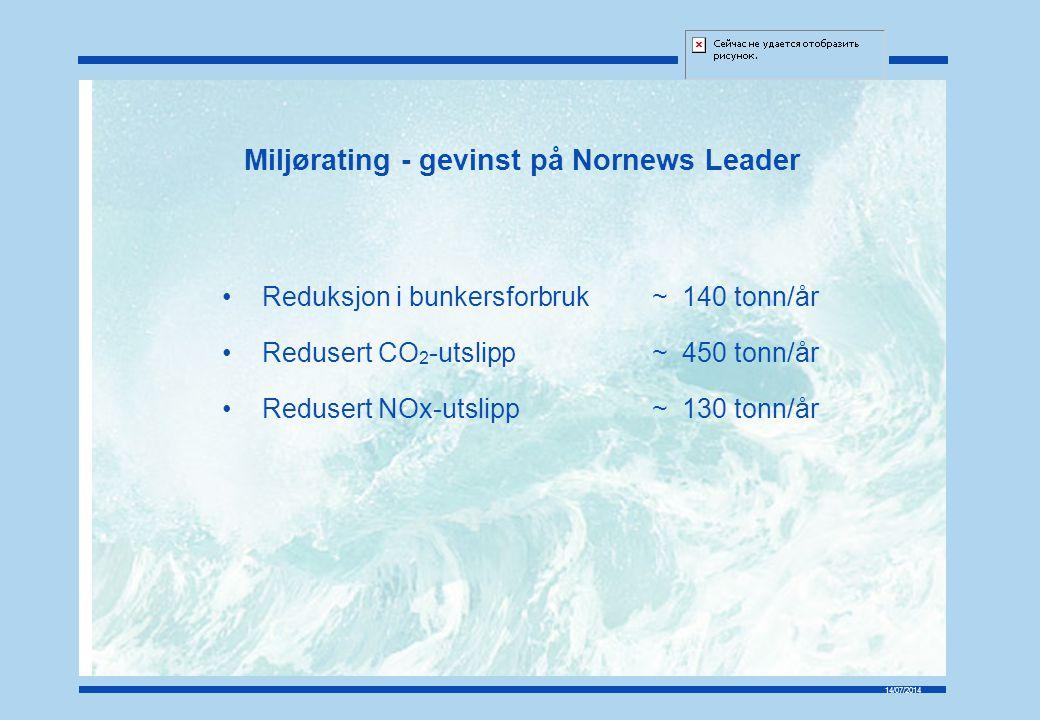 14/07/2014 Miljørating - gevinst på Nornews Leader Reduksjon i bunkersforbruk~140 tonn/år Redusert CO 2 -utslipp~450 tonn/år Redusert NOx-utslipp~130 tonn/år
