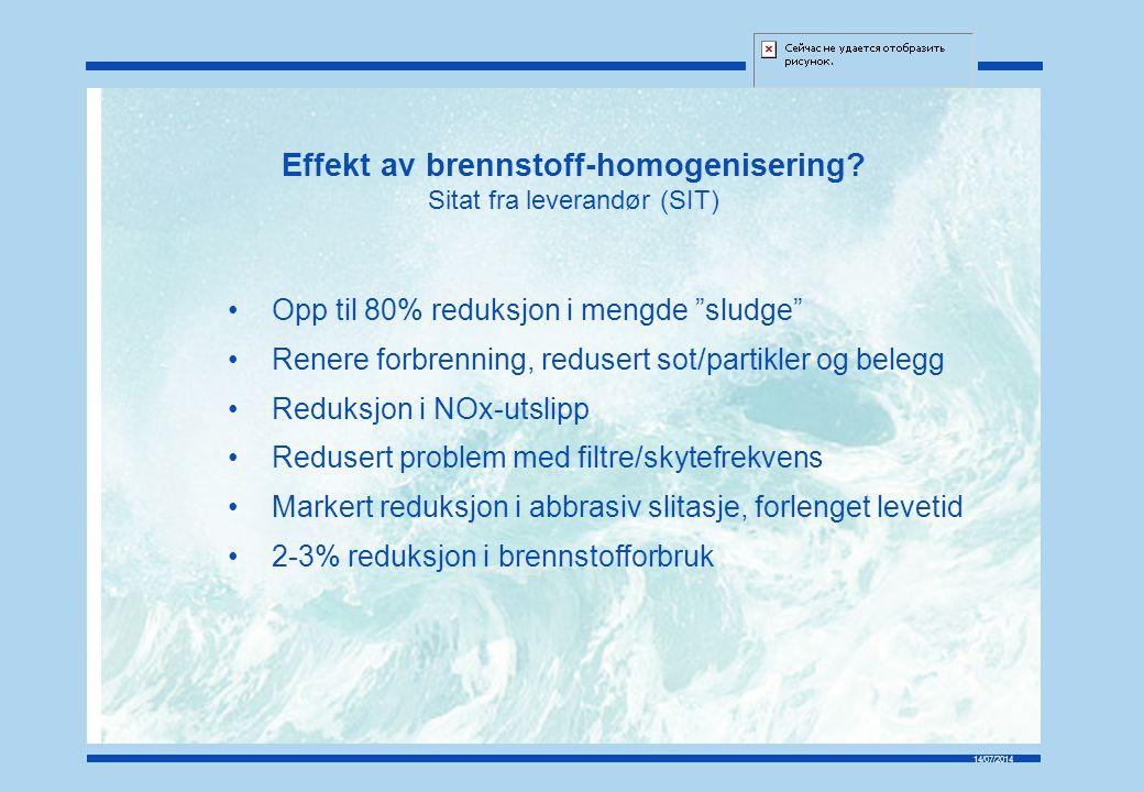 14/07/2014 Effekt av brennstoff-homogenisering.