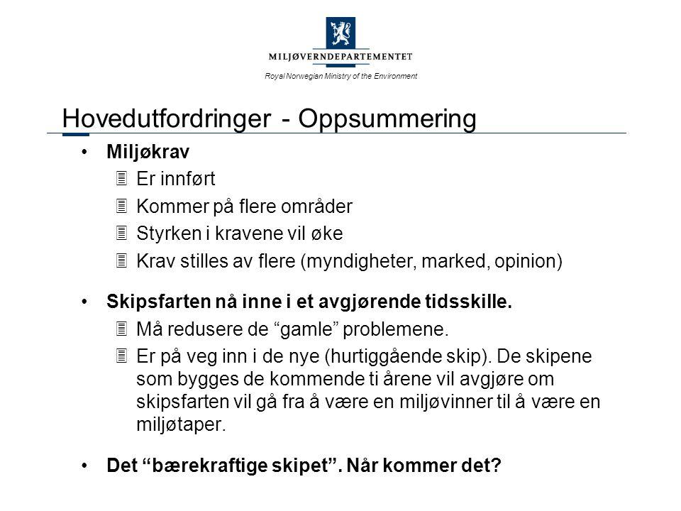 Royal Norwegian Ministry of the Environment Hovedutfordringer - Oppsummering Miljøkrav 3Er innført 3Kommer på flere områder 3Styrken i kravene vil øke 3Krav stilles av flere (myndigheter, marked, opinion) Skipsfarten nå inne i et avgjørende tidsskille.