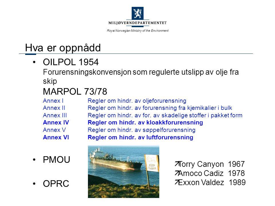 Royal Norwegian Ministry of the Environment Hva er oppnådd OILPOL 1954 Forurensningskonvensjon som regulerte utslipp av olje fra skip MARPOL 73/78 Annex IRegler om hindr.