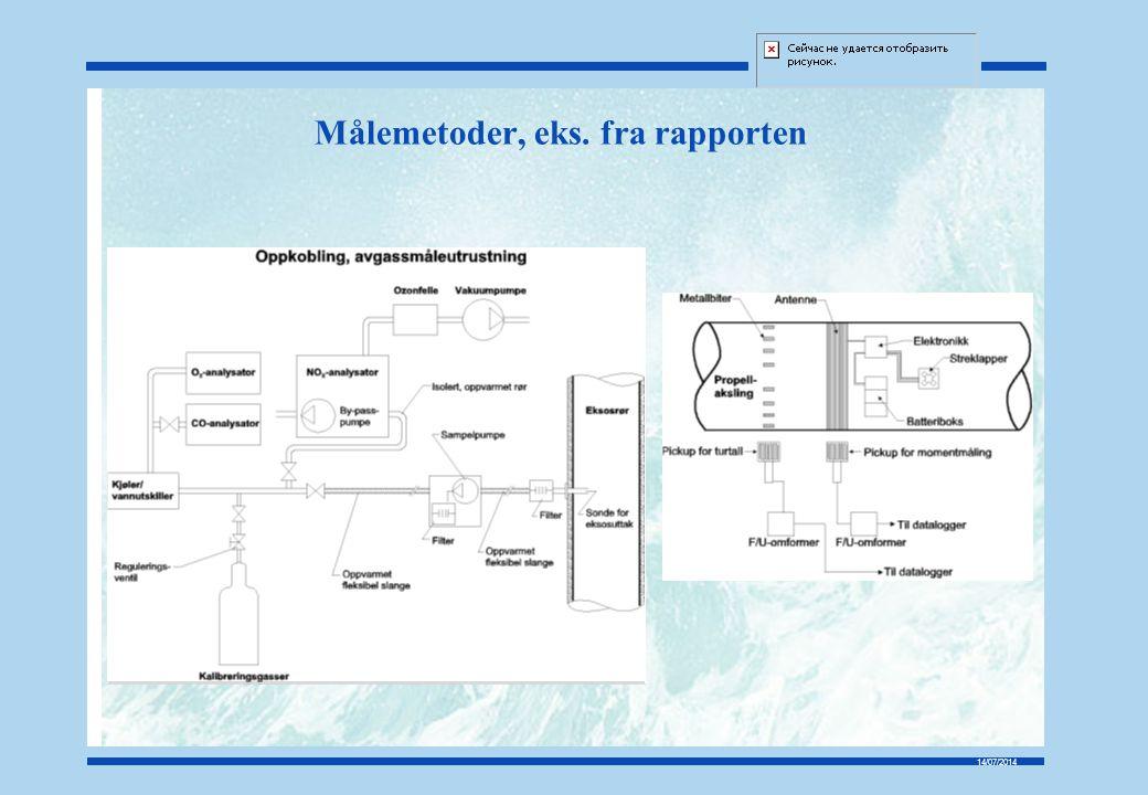 14/07/2014 Forenklet måleopplegg Rapporten gir en oversikt over anbefalte måleprinsipper og utstyr som inngår i forbindelse med NOx målinger Rapporten gir en prosedyre for gjennomføring av NOx målinger ombord Rapporten konkluderer med at en betydelig forenkling av NOx målinger vil kreve en aksept fra sertifiserende myndighet på avvik fra kodens krav Rapporten identifiserer utstyr og metode for måling av brennstofforbruk som områder der utvidet kunnskapsgrunnlag er ønskelig