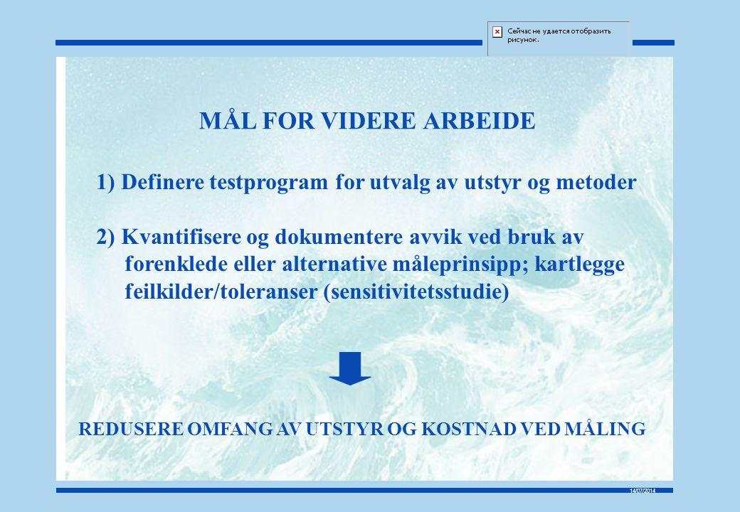 14/07/2014 MÅL FOR VIDERE ARBEIDE 1) Definere testprogram for utvalg av utstyr og metoder 2) Kvantifisere og dokumentere avvik ved bruk av forenklede