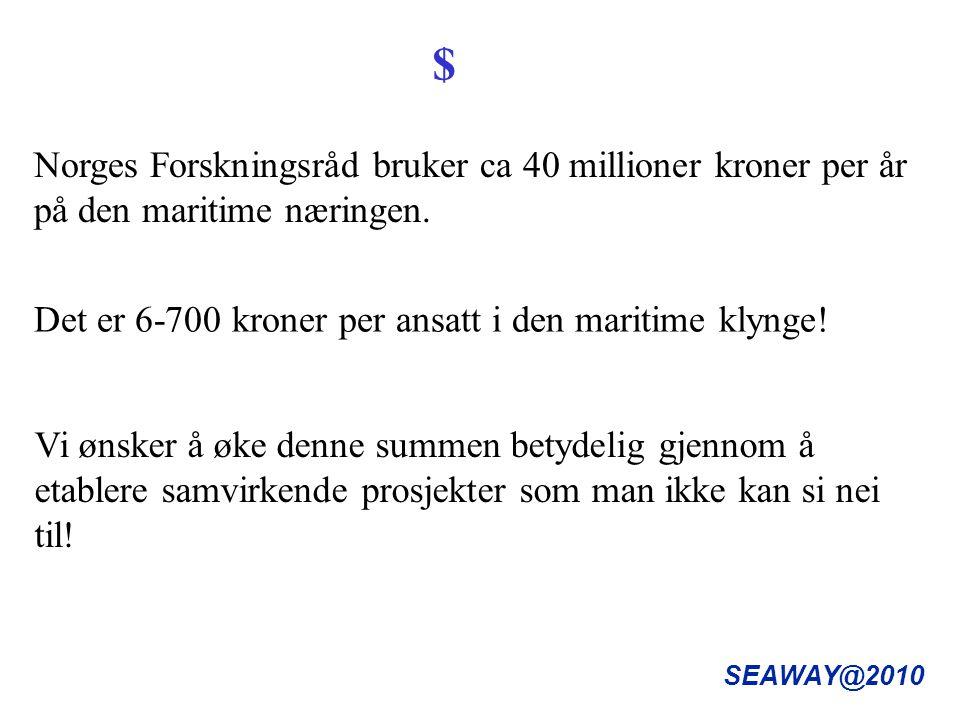 SEAWAY@2010 Norges Forskningsråd bruker ca 40 millioner kroner per år på den maritime næringen.