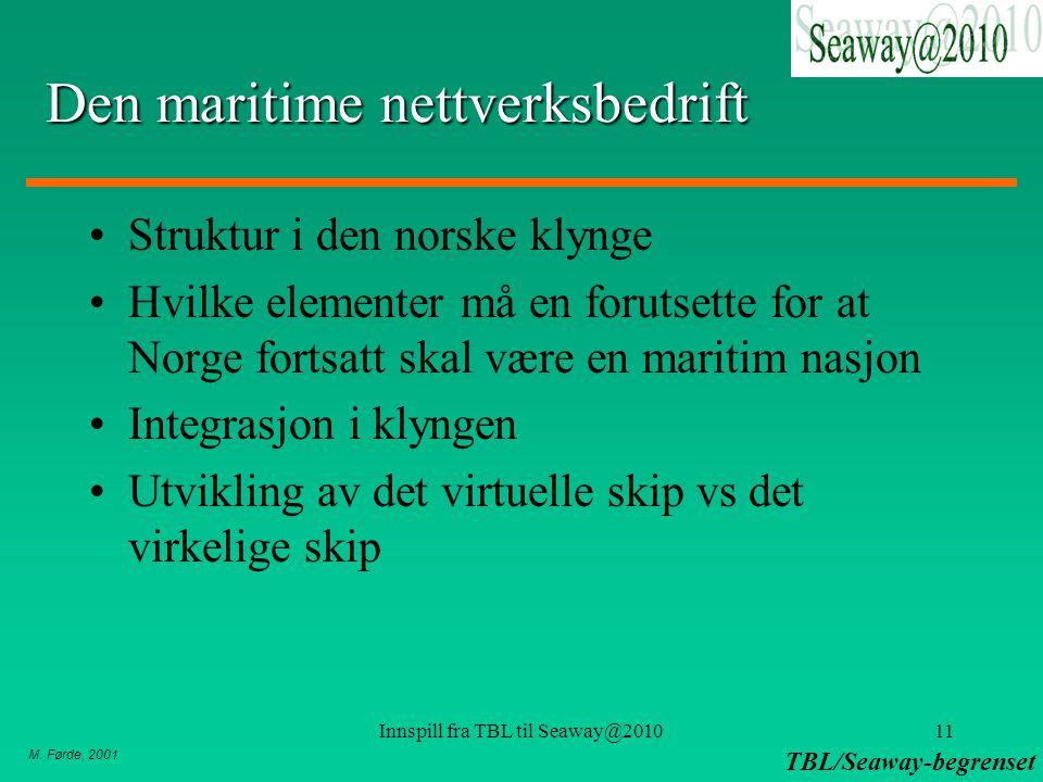 M. Førde, 2001 TBL/Seaway-begrenset Innspill fra TBL til Seaway@201011 Den maritime nettverksbedrift Struktur i den norske klynge Hvilke elementer må