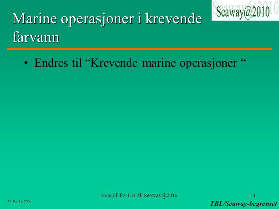 """M. Førde, 2001 TBL/Seaway-begrenset Innspill fra TBL til Seaway@201014 Marine operasjoner i krevende farvann Endres til """"Krevende marine operasjoner """""""