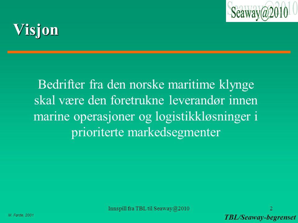 M. Førde, 2001 TBL/Seaway-begrenset Innspill fra TBL til Seaway@20102 Visjon Bedrifter fra den norske maritime klynge skal være den foretrukne leveran