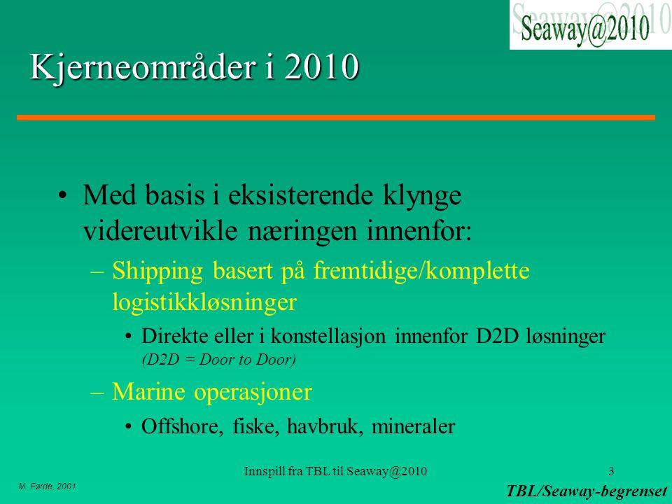 M. Førde, 2001 TBL/Seaway-begrenset Innspill fra TBL til Seaway@20103 Kjerneområder i 2010 Med basis i eksisterende klynge videreutvikle næringen inne