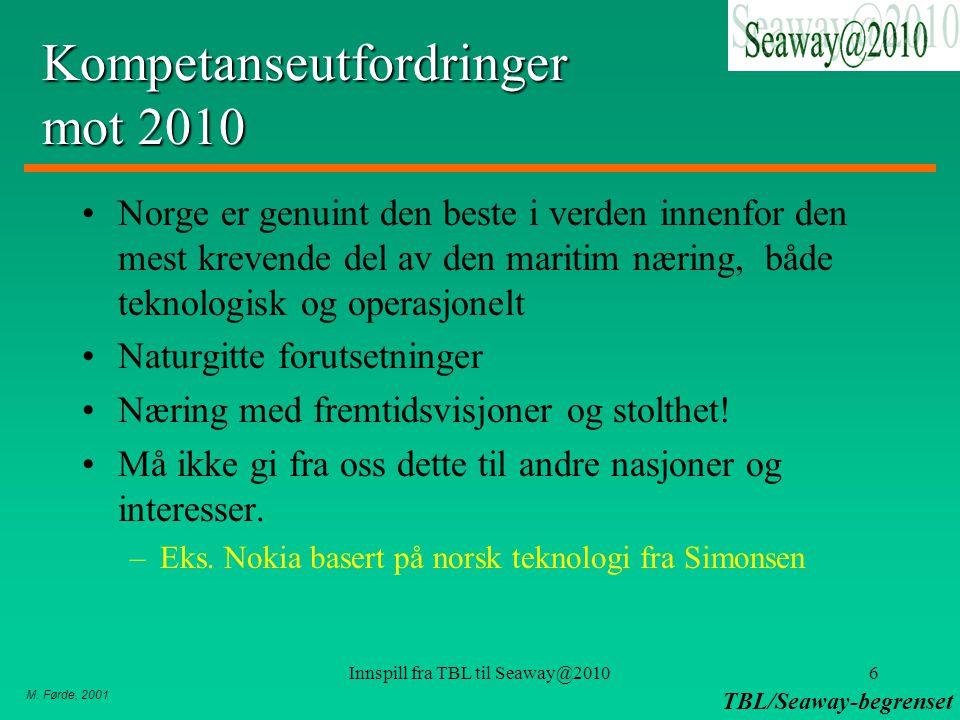 M. Førde, 2001 TBL/Seaway-begrenset Innspill fra TBL til Seaway@20106 Kompetanseutfordringer mot 2010 Norge er genuint den beste i verden innenfor den