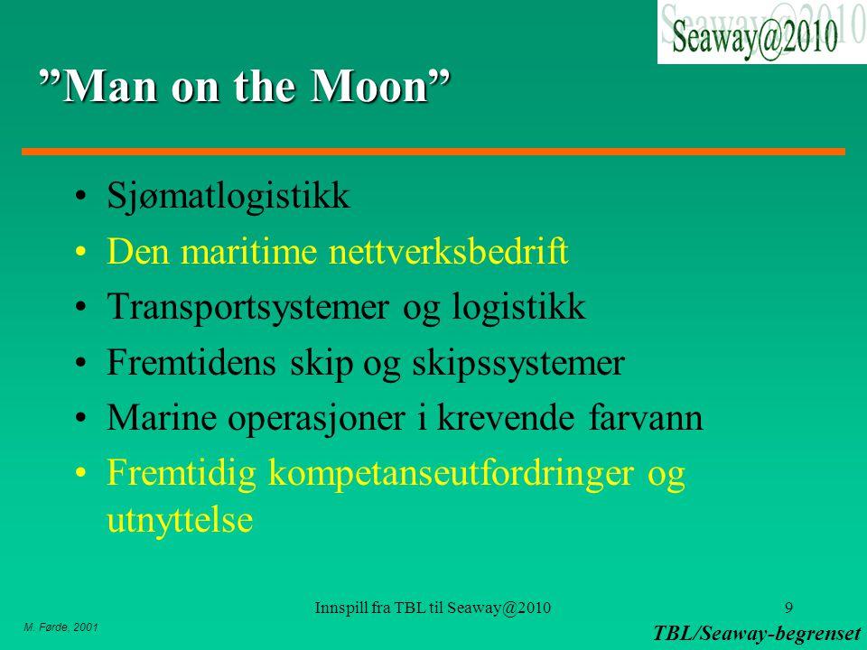"""M. Førde, 2001 TBL/Seaway-begrenset Innspill fra TBL til Seaway@20109 """"Man on the Moon"""" Sjømatlogistikk Den maritime nettverksbedrift Transportsysteme"""