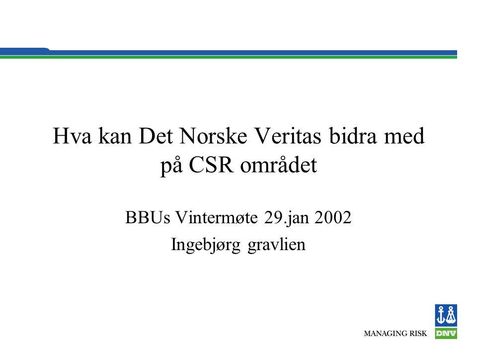 Hva kan Det Norske Veritas bidra med på CSR området BBUs Vintermøte 29.jan 2002 Ingebjørg gravlien