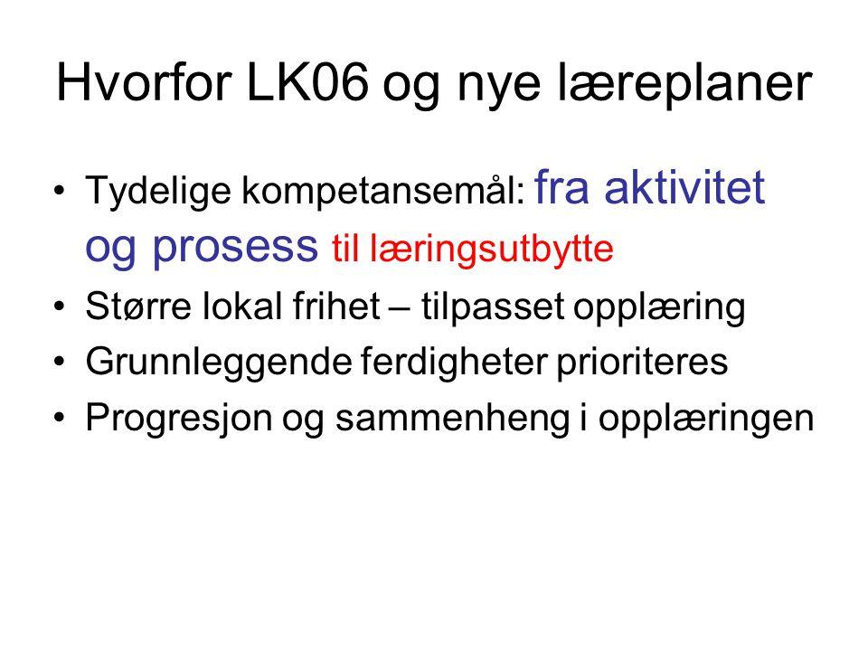 Hvorfor LK06 og nye læreplaner Tydelige kompetansemål: fra aktivitet og prosess til læringsutbytte Større lokal frihet – tilpasset opplæring Grunnleggende ferdigheter prioriteres Progresjon og sammenheng i opplæringen