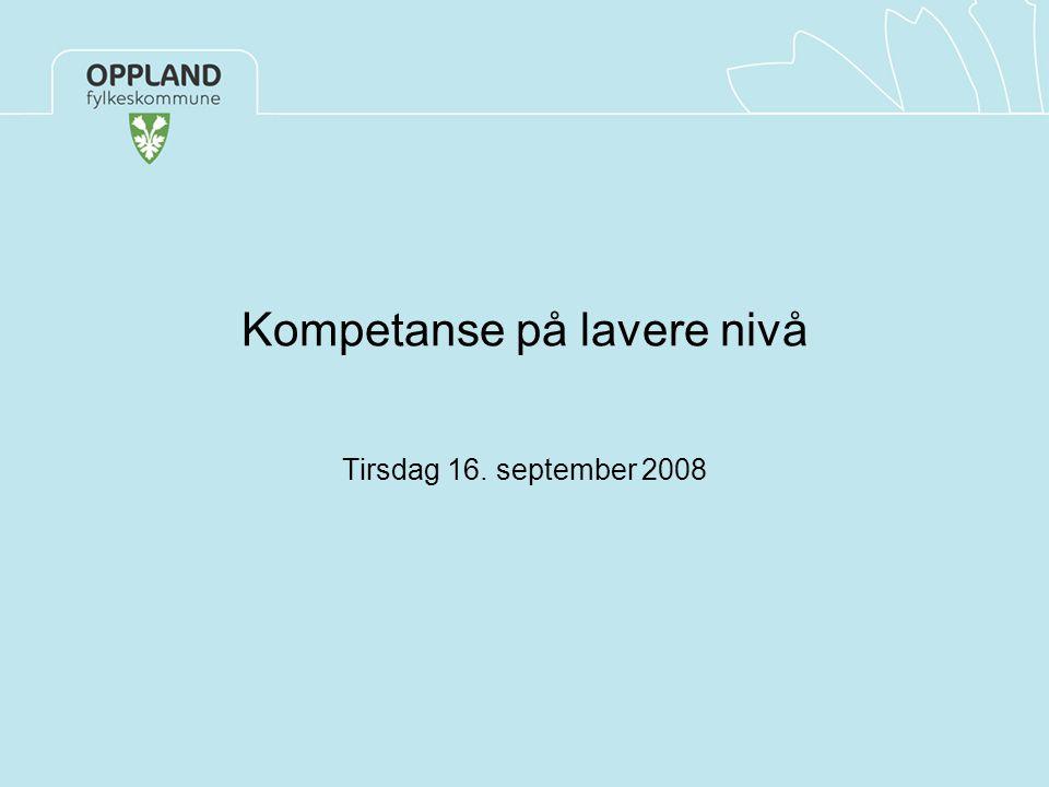 Jane Haave Kompetanse på lavere nivå Tirsdag 16. september 2008