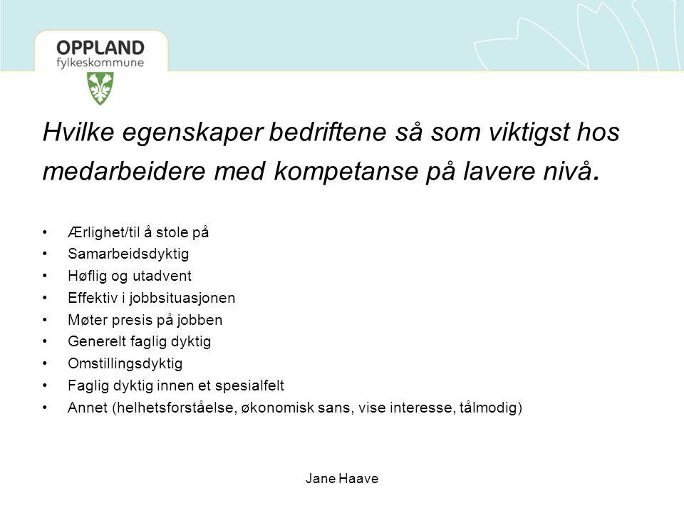 Jane Haave Hvilke egenskaper bedriftene så som viktigst hos medarbeidere med kompetanse på lavere nivå.