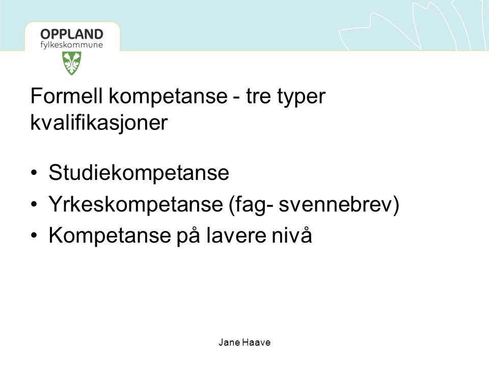Jane Haave Formell kompetanse - tre typer kvalifikasjoner Studiekompetanse Yrkeskompetanse (fag- svennebrev) Kompetanse på lavere nivå