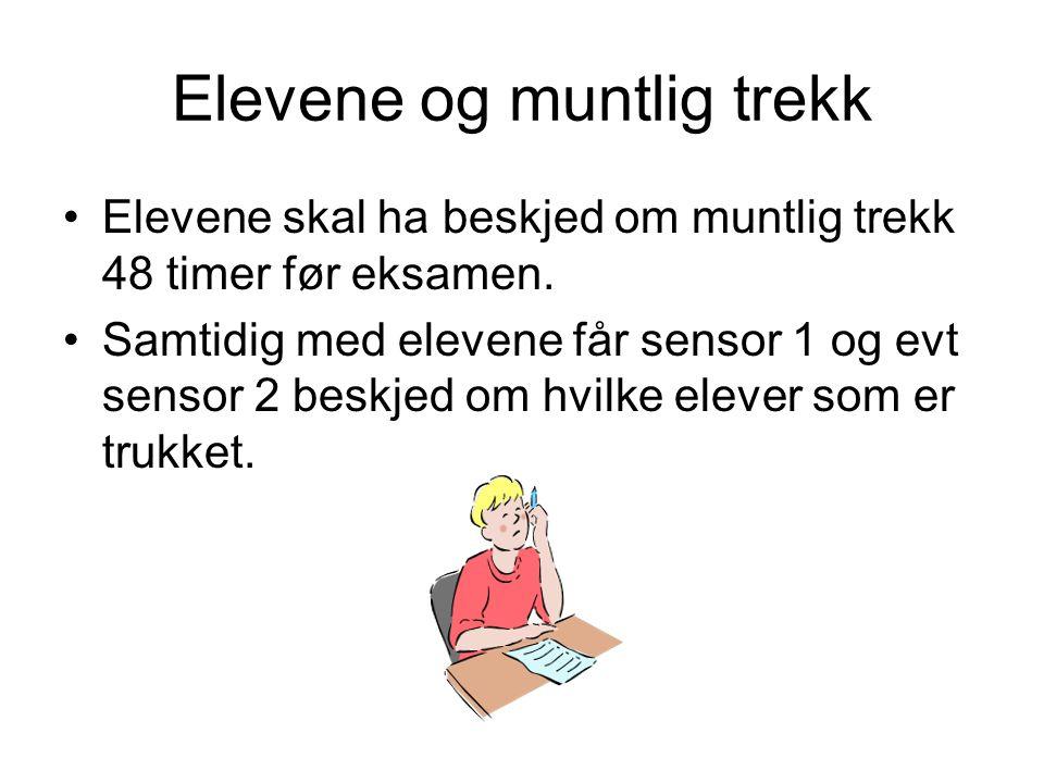 Elevene og muntlig trekk Elevene skal ha beskjed om muntlig trekk 48 timer før eksamen.