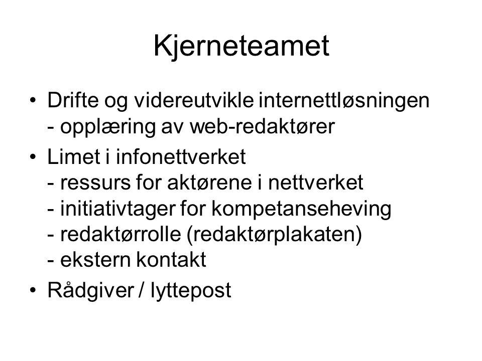 Kjerneteamet Drifte og videreutvikle internettløsningen - opplæring av web-redaktører Limet i infonettverket - ressurs for aktørene i nettverket - initiativtager for kompetanseheving - redaktørrolle (redaktørplakaten) - ekstern kontakt Rådgiver / lyttepost