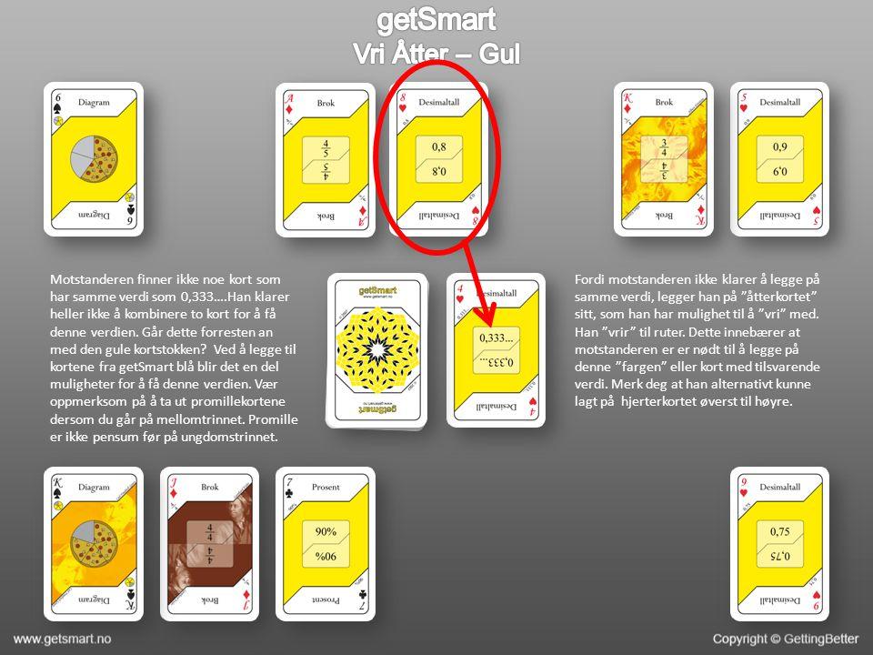 Motstanderen finner ikke noe kort som har samme verdi som 0,333….Han klarer heller ikke å kombinere to kort for å få denne verdien.