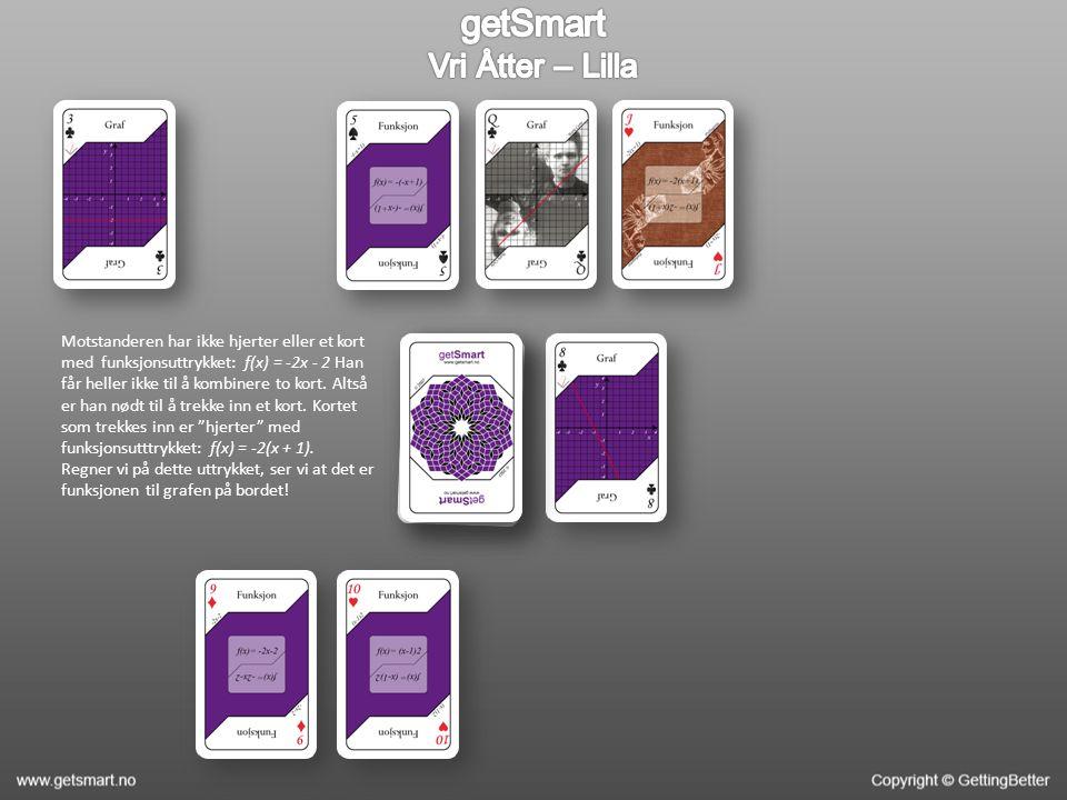 Motstanderen har ikke hjerter eller et kort med funksjonsuttrykket: f(x) = -2x - 2 Han får heller ikke til å kombinere to kort.