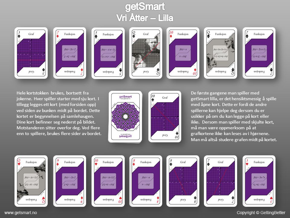 Hele kortstokken brukes, bortsett fra jokerne. Hver spiller starter med sju kort.