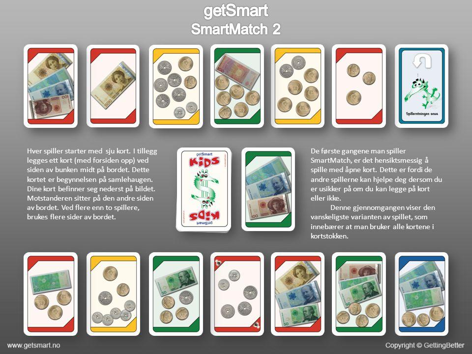 Et rødt kort med beløpet 17kr er lagt ut. Det er vridd til grønn.