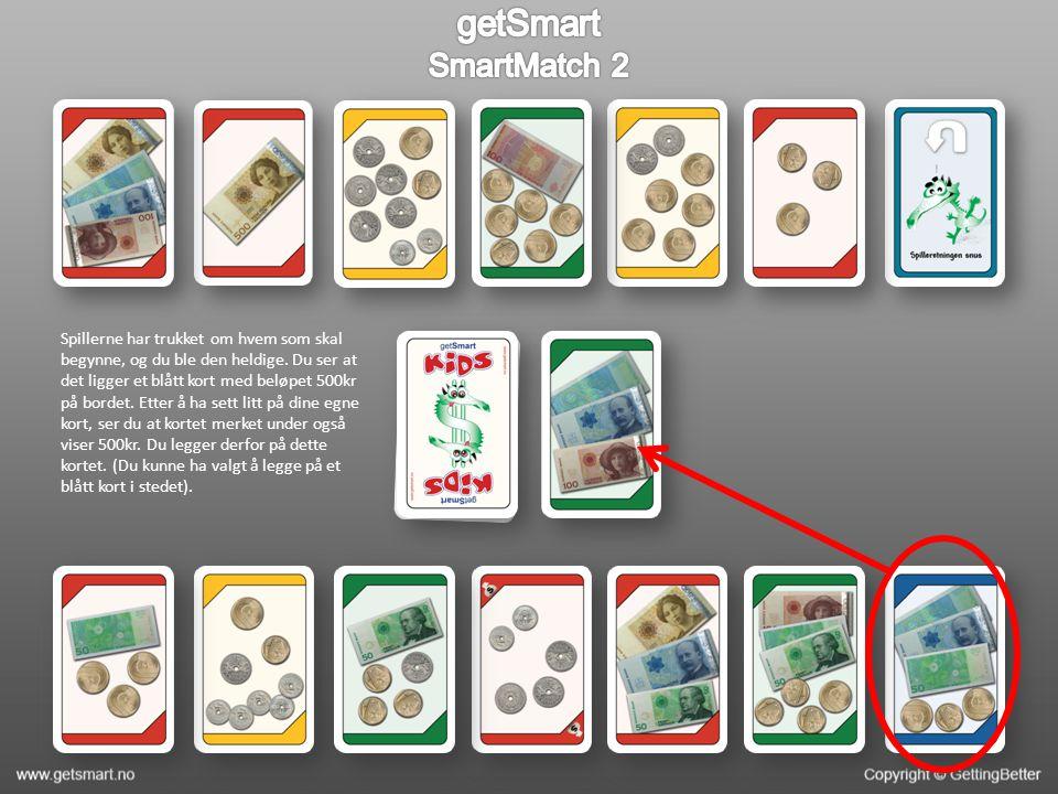 Et blått kort med beløpet 500kr er lagt ut på bordet.