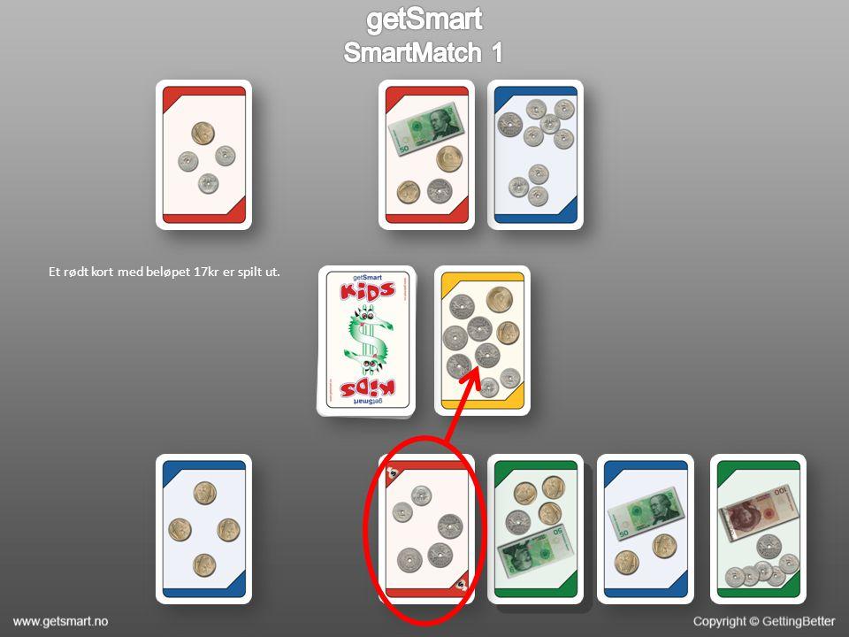 Et rødt kort med beløpet 17kr er spilt ut.