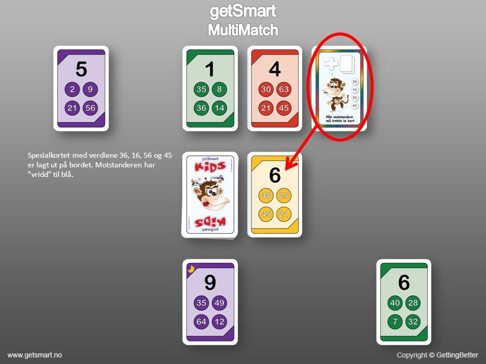 Spesialkortet med verdiene 36, 16, 56 og 45 er lagt ut på bordet. Motstanderen har vridd til blå.