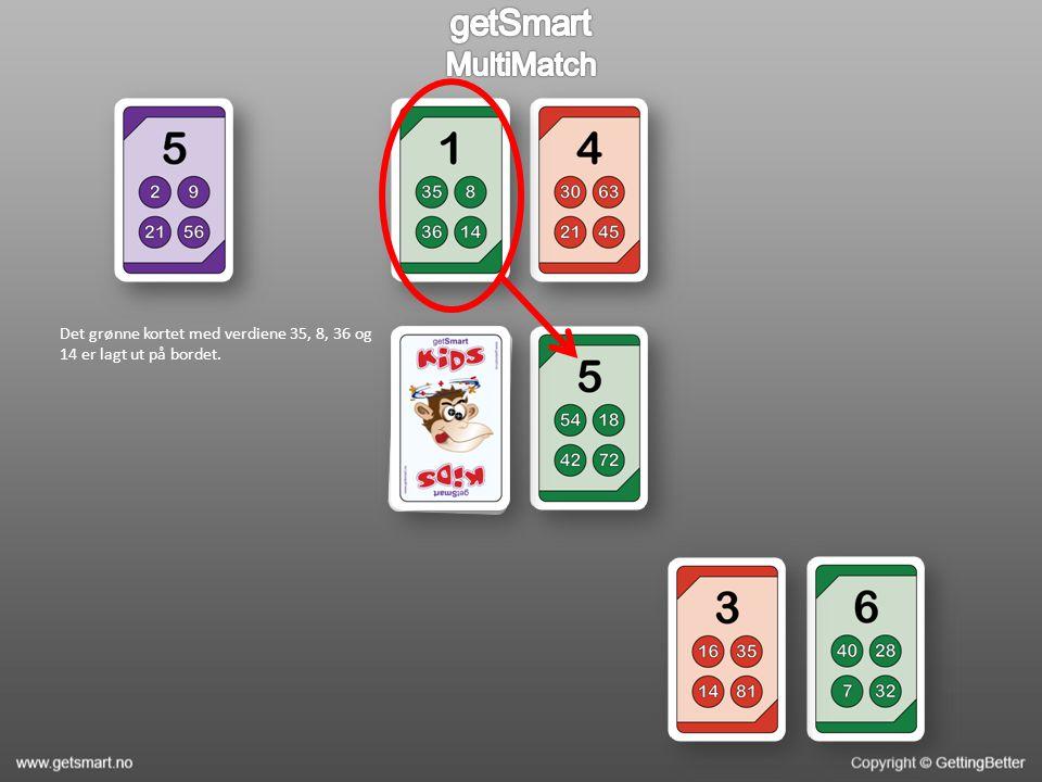 Det grønne kortet med verdiene 35, 8, 36 og 14 er lagt ut på bordet.