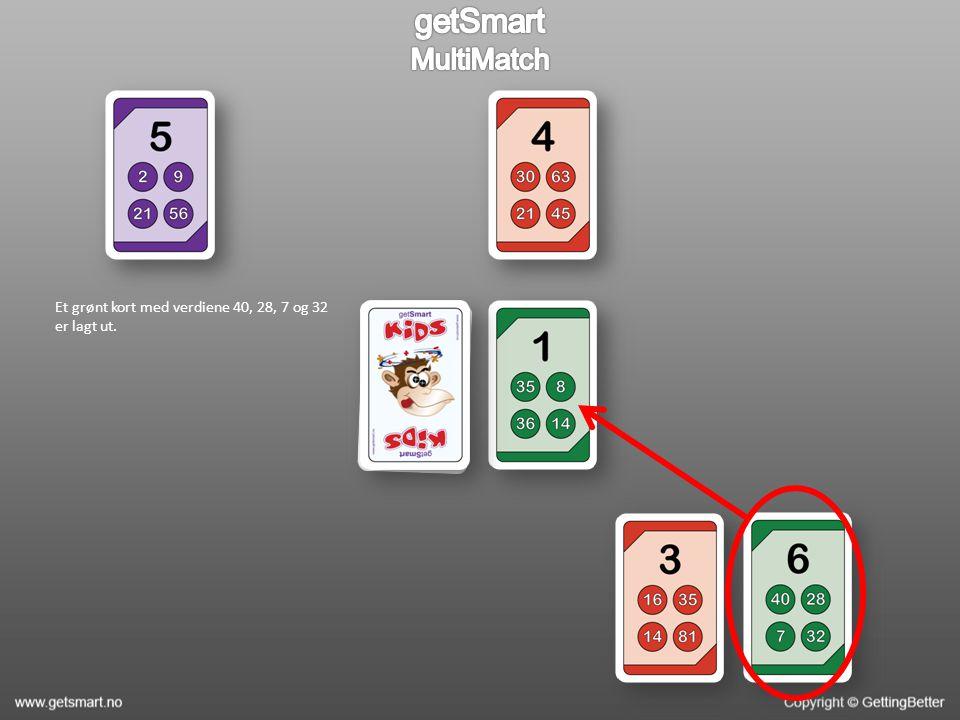 Et grønt kort med verdiene 40, 28, 7 og 32 er lagt ut.