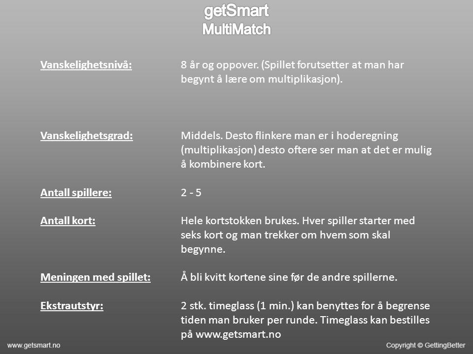 Vanskelighetsnivå: Vanskelighetsgrad: Antall spillere: Antall kort: Meningen med spillet: Ekstrautstyr: 8 år og oppover.