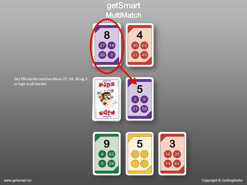 Det lilla kortet med verdiene 27, 14, 20 og 3 er lagt ut på bordet.