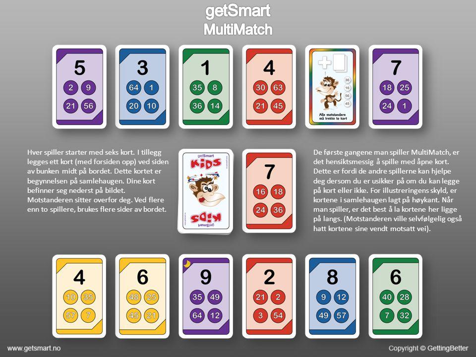 Kortene er blitt lagt ut og du valgte å legge det grønne kortet med verdiene 54, 18, 42 og 72 øverst.