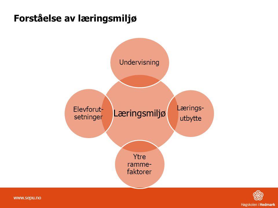 Forståelse av læringsmiljø www.sepu.no