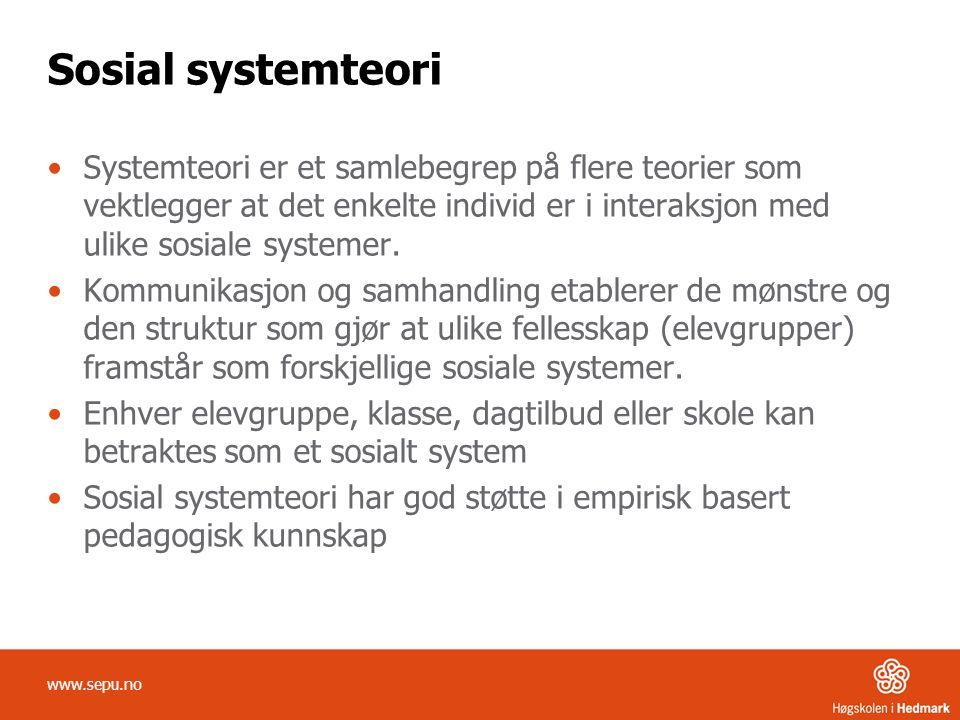 Sosial systemteori Systemteori er et samlebegrep på flere teorier som vektlegger at det enkelte individ er i interaksjon med ulike sosiale systemer. K