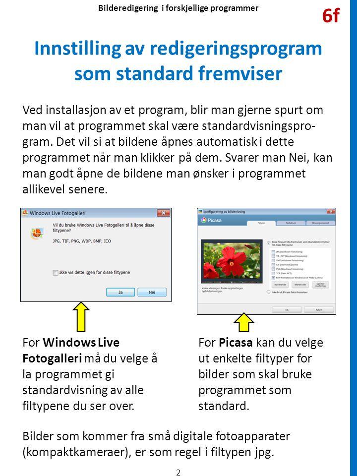 Ved installasjon av et program, blir man gjerne spurt om man vil at programmet skal være standardvisningspro- gram.