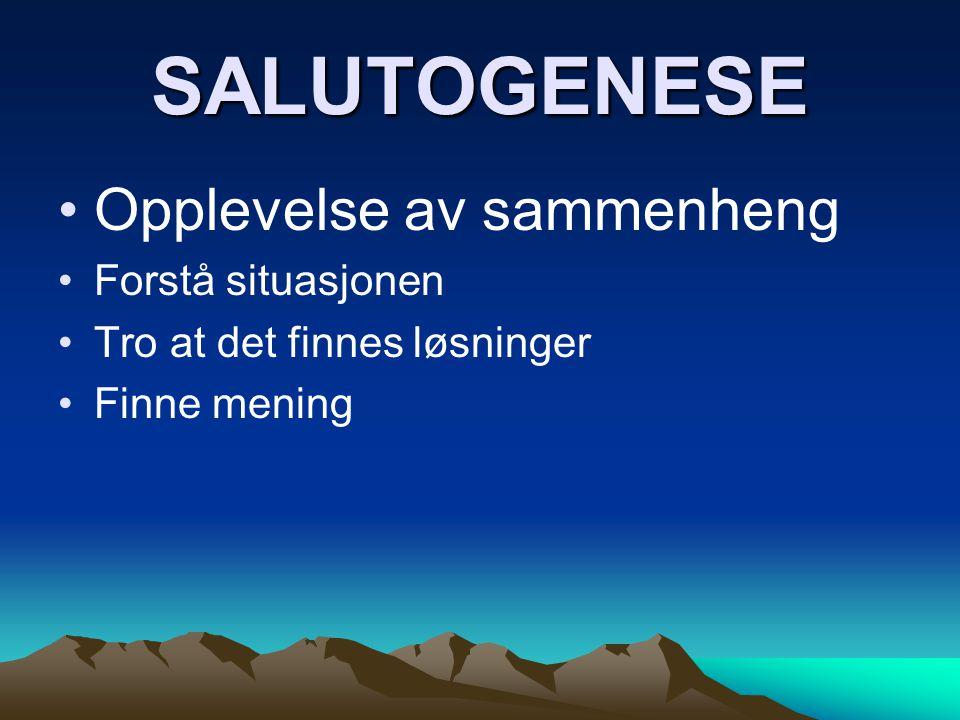 SALUTOGENESE Opplevelse av sammenheng Forstå situasjonen Tro at det finnes løsninger Finne mening