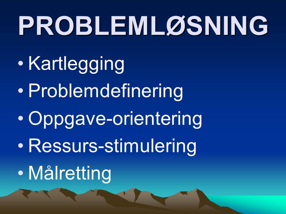 PROBLEMLØSNING Kartlegging Problemdefinering Oppgave-orientering Ressurs-stimulering Målretting