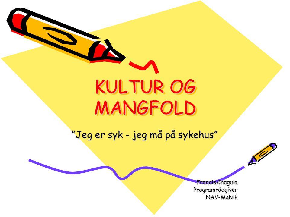 KULTUR OG MANGFOLD Jeg er syk - jeg må på sykehus Francis Chagula ProgramrådgiverNAV-Malvik