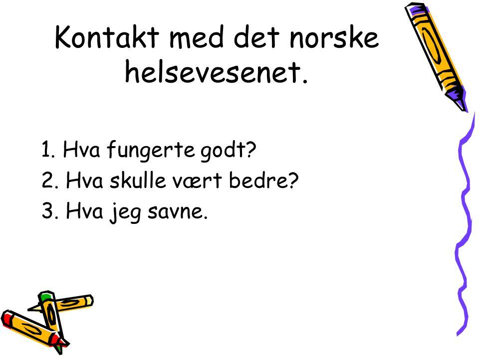 Kontakt med det norske helsevesenet.1. Hva fungerte godt.
