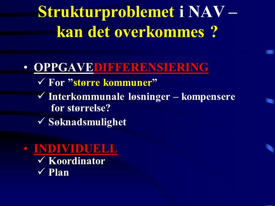 """Strukturproblemet i NAV – kan det overkommes ? OPPGAVEDIFFERENSIERINGOPPGAVEDIFFERENSIERING For """"større kommuner"""" Interkommunale løsninger – kompenser"""