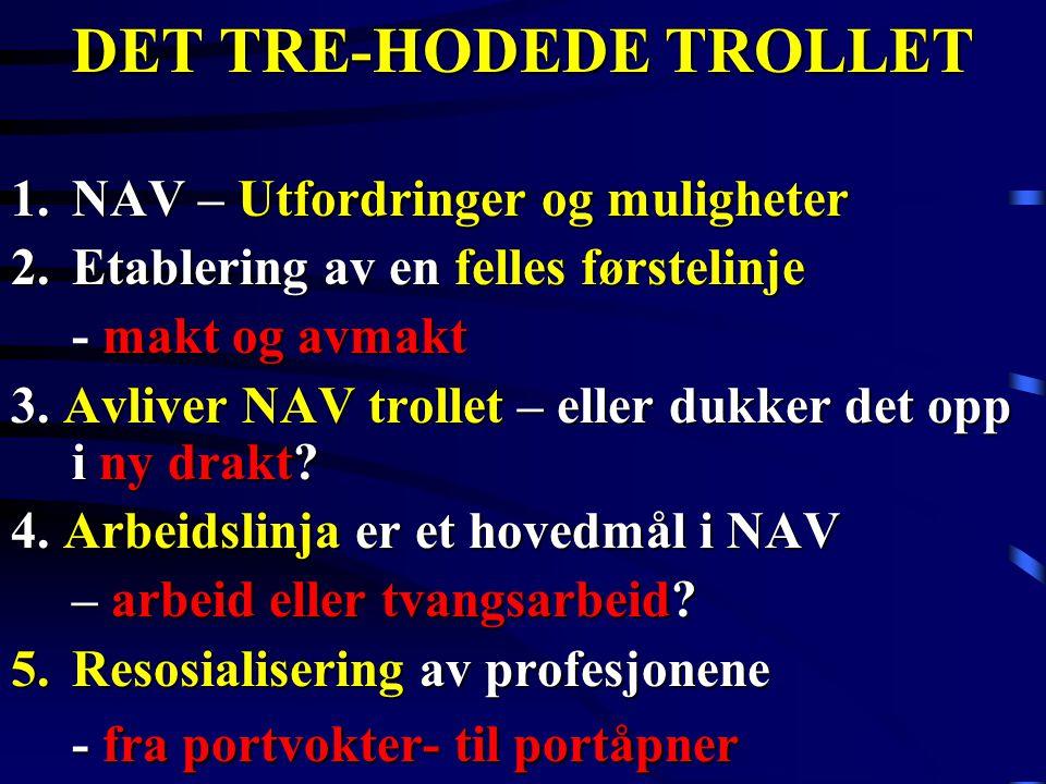 DET TRE-HODEDE TROLLET 1.NAV – Utfordringer og muligheter 2.Etablering av en felles førstelinje - makt og avmakt 3. Avliver NAV trollet – eller dukker